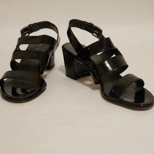 Stuart Weitzman Milanese Black Patent Sandals